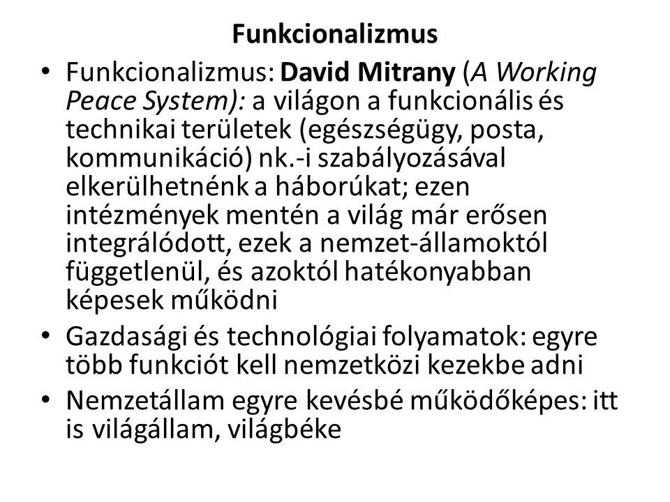 Funkcionalizmus Funkcionalizmus: David Mitrany (A Working Peace System): a világon a funkcionális és technikai területek (egészségügy, posta, kommunik