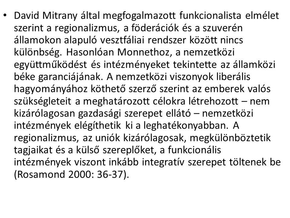 David Mitrany által megfogalmazott funkcionalista elmélet szerint a regionalizmus, a föderációk és a szuverén államokon alapuló vesztfáliai rendszer k