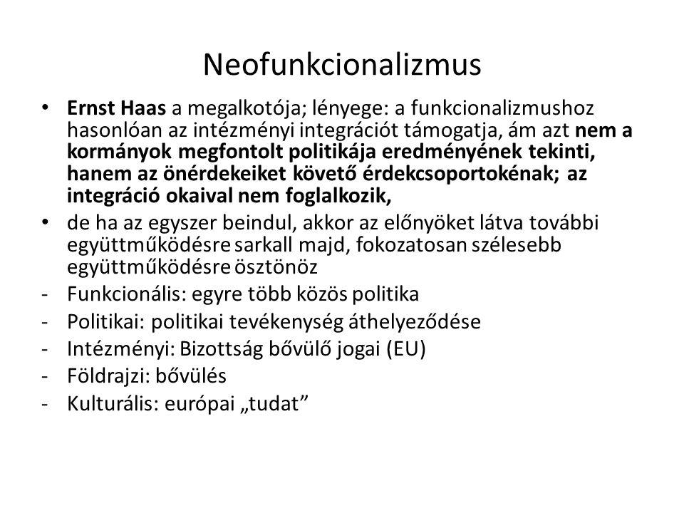Neofunkcionalizmus Ernst Haas a megalkotója; lényege: a funkcionalizmushoz hasonlóan az intézményi integrációt támogatja, ám azt nem a kormányok megfo