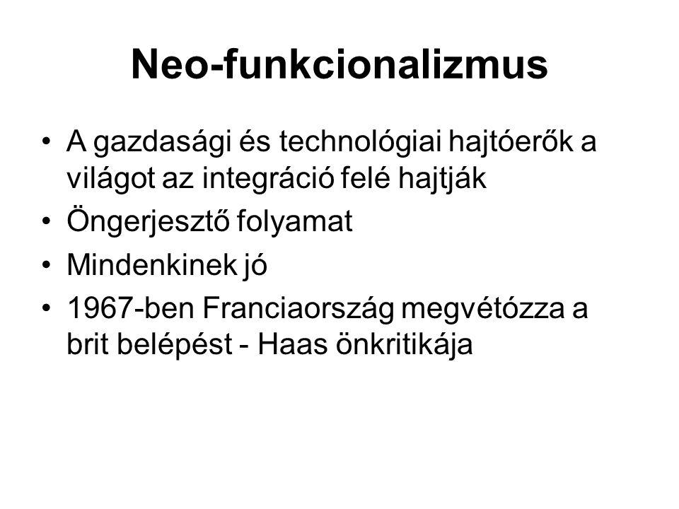 Neo-funkcionalizmus A gazdasági és technológiai hajtóerők a világot az integráció felé hajtják Öngerjesztő folyamat Mindenkinek jó 1967-ben Franciaors