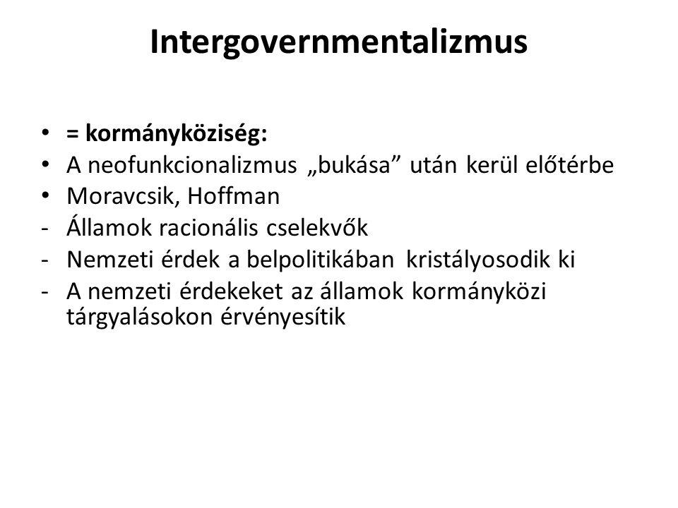 """Intergovernmentalizmus = kormányköziség: A neofunkcionalizmus """"bukása"""" után kerül előtérbe Moravcsik, Hoffman -Államok racionális cselekvők -Nemzeti é"""