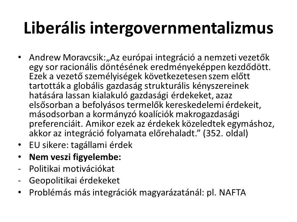 """Liberális intergovernmentalizmus Andrew Moravcsik:""""Az európai integráció a nemzeti vezetők egy sor racionális döntésének eredményeképpen kezdődött. Ez"""