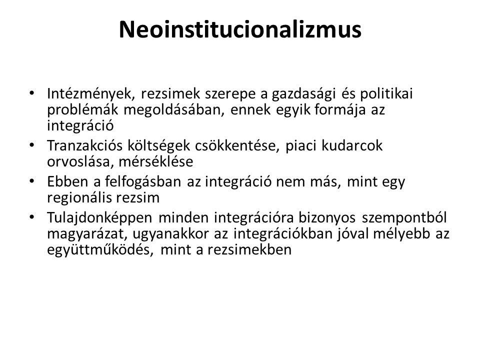 Neoinstitucionalizmus Intézmények, rezsimek szerepe a gazdasági és politikai problémák megoldásában, ennek egyik formája az integráció Tranzakciós köl