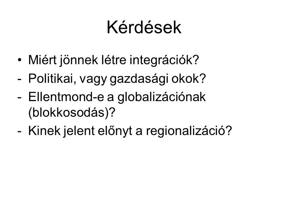 Kérdések Miért jönnek létre integrációk? -Politikai, vagy gazdasági okok? -Ellentmond-e a globalizációnak (blokkosodás)? -Kinek jelent előnyt a region