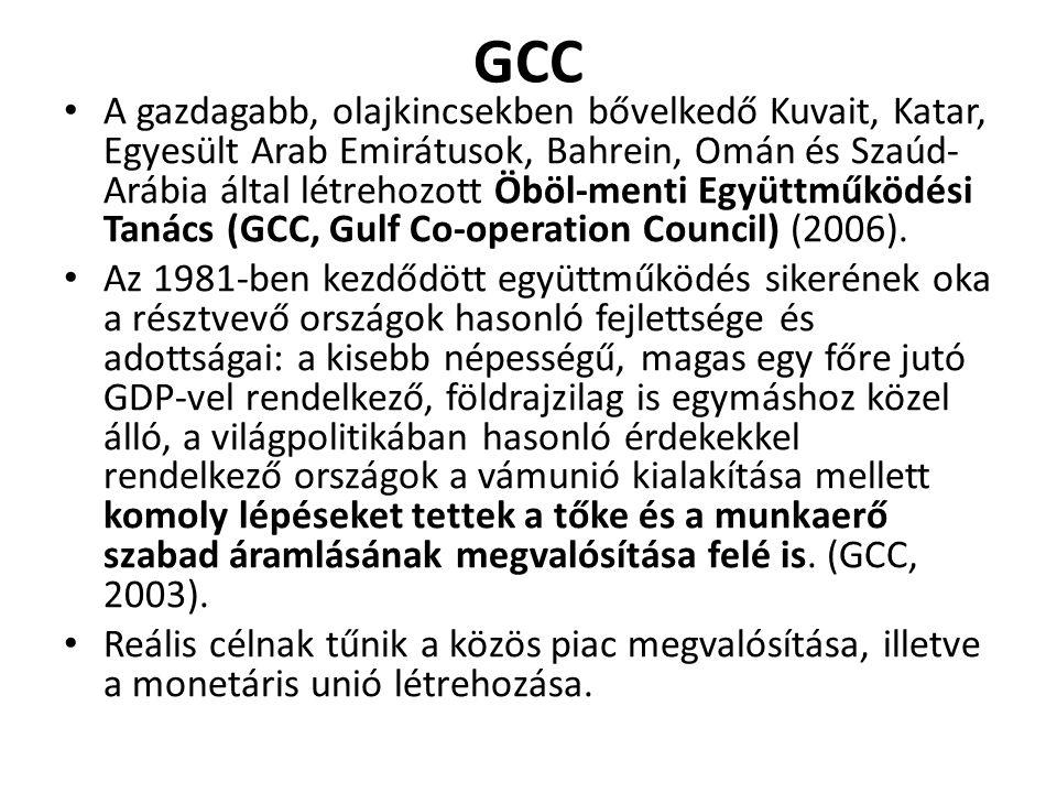 GCC A gazdagabb, olajkincsekben bővelkedő Kuvait, Katar, Egyesült Arab Emirátusok, Bahrein, Omán és Szaúd- Arábia által létrehozott Öböl-menti Együttm