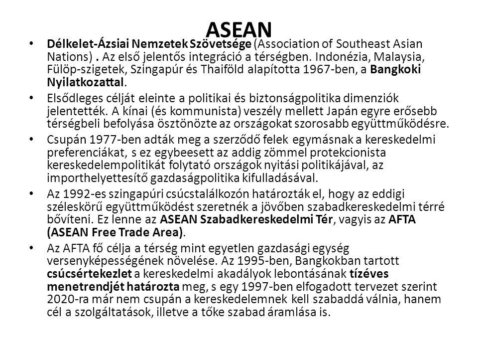 ASEAN Délkelet-Ázsiai Nemzetek Szövetsége (Association of Southeast Asian Nations). Az első jelentős integráció a térségben. Indonézia, Malaysia, Fülö