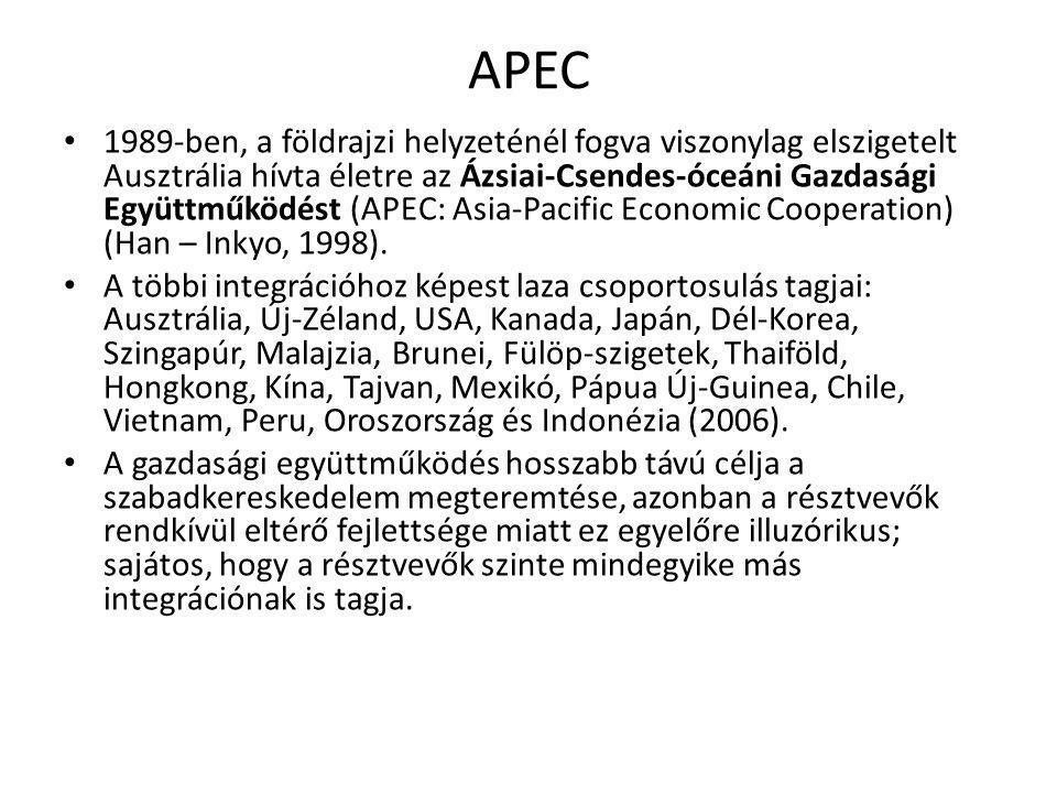 APEC 1989-ben, a földrajzi helyzeténél fogva viszonylag elszigetelt Ausztrália hívta életre az Ázsiai-Csendes-óceáni Gazdasági Együttműködést (APEC: A