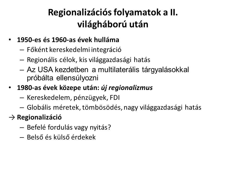 Regionalizációs folyamatok a II. világháború után 1950-es és 1960-as évek hulláma – Főként kereskedelmi integráció – Regionális célok, kis világgazdas