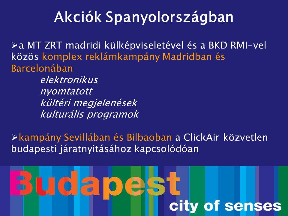  a MT ZRT madridi külképviseletével és a BKD RMI-vel közös komplex reklámkampány Madridban és Barcelonában elektronikus nyomtatott kültéri megjelenés