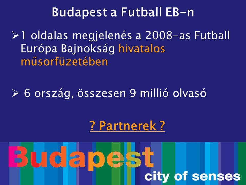 Budapest a Futball EB-n  1 oldalas megjelenés a 2008-as Futball Európa Bajnokság hivatalos műsorfüzetében  6 ország, összesen 9 millió olvasó ? Part