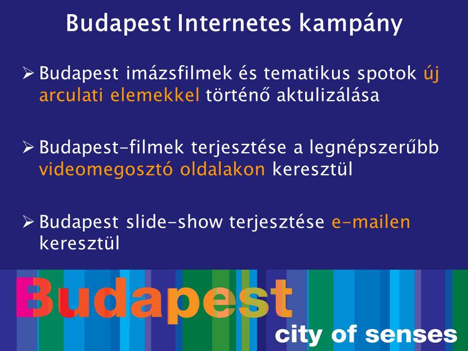 Budapest Internetes kampány  Budapest imázsfilmek és tematikus spotok új arculati elemekkel történő aktulizálása  Budapest-filmek terjesztése a legn