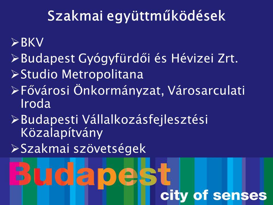  BKV  Budapest Gyógyfürdői és Hévizei Zrt.  Studio Metropolitana  Fővárosi Önkormányzat, Városarculati Iroda  Budapesti Vállalkozásfejlesztési Kö