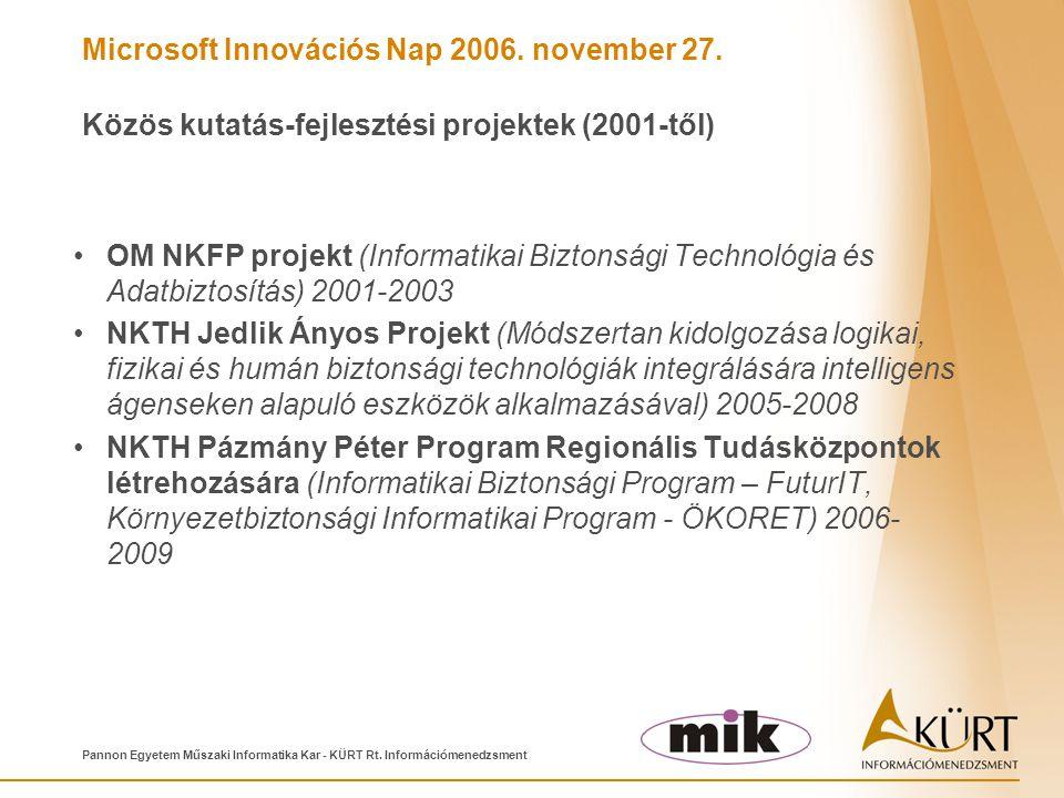 Microsoft Innovációs Nap 2006. november 27. Pannon Egyetem Műszaki Informatika Kar - KÜRT Rt. Információmenedzsment Közös kutatás-fejlesztési projekte