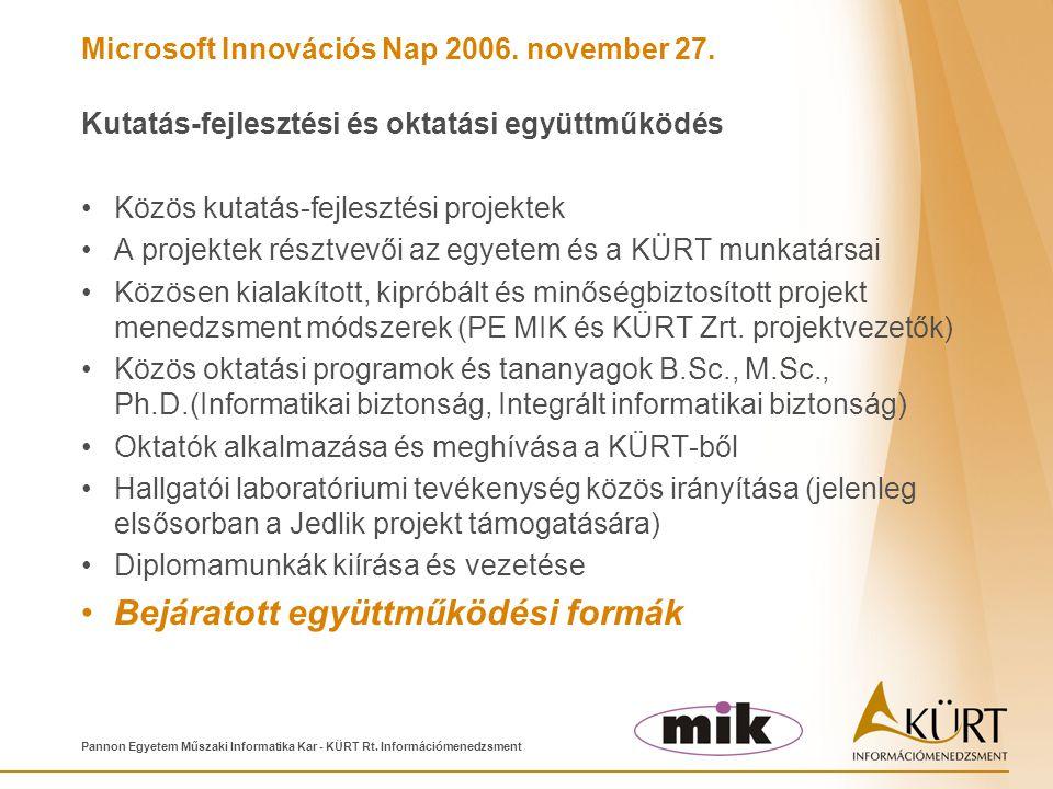 Microsoft Innovációs Nap 2006. november 27. Pannon Egyetem Műszaki Informatika Kar - KÜRT Rt. Információmenedzsment Kutatás-fejlesztési és oktatási eg