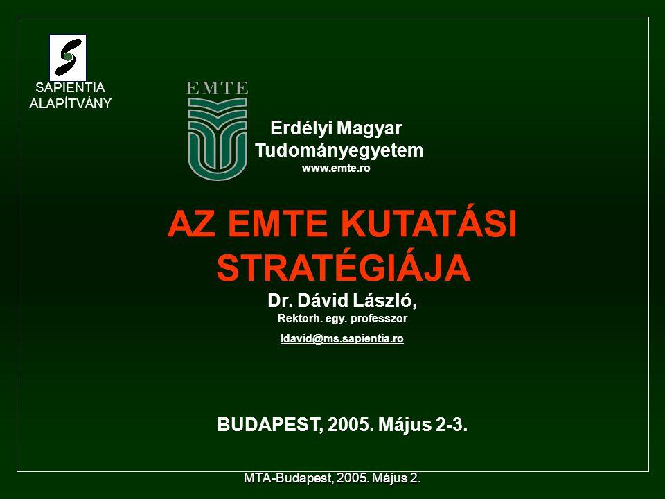MTA-Budapest, 2005. Május 2. AZ EMTE KUTATÁSI STRATÉGIÁJA Dr.