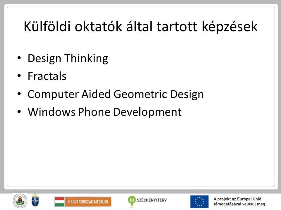 Külföldi oktatók által tartott képzések Design Thinking Fractals Computer Aided Geometric Design Windows Phone Development