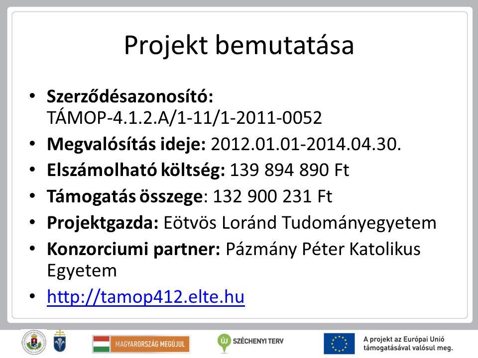 Projekt bemutatása Szerződésazonosító: TÁMOP-4.1.2.A/1-11/1-2011-0052 Megvalósítás ideje: 2012.01.01-2014.04.30. Elszámolható költség: 139 894 890 Ft