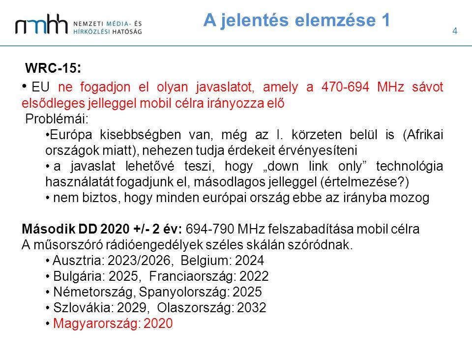5 A jelentés elemzése 2 Fő probléma: Svédország, Németország és Finnország bejelentette, hogy előbb akar áttérni mobil szolgáltatásra a 2.DD sávban, mint 2020.