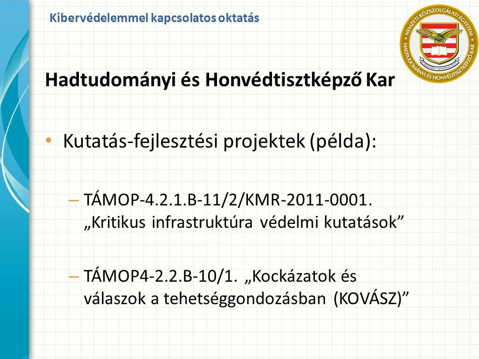 """Kibervédelemmel kapcsolatos oktatás Hadtudományi és Honvédtisztképző Kar Kutatás-fejlesztési projektek (példa): – TÁMOP-4.2.1.B-11/2/KMR-2011-0001. """"K"""