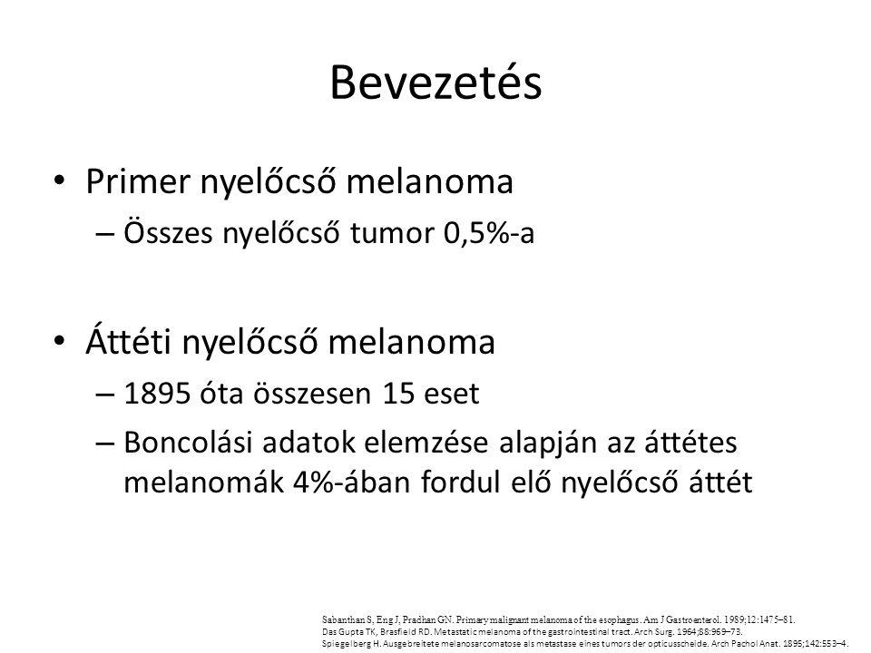 Bevezetés Primer nyelőcső melanoma – Összes nyelőcső tumor 0,5%-a Áttéti nyelőcső melanoma – 1895 óta összesen 15 eset – Boncolási adatok elemzése ala