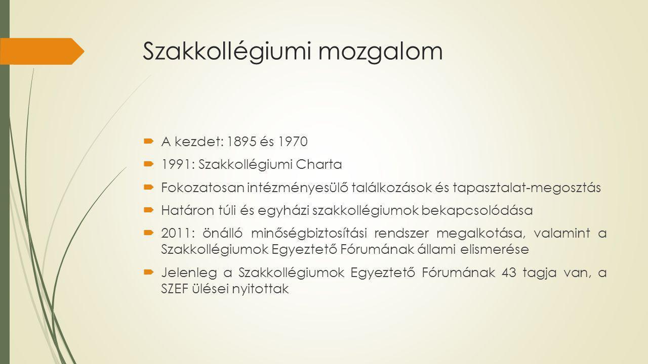 Szakkollégiumi mozgalom  A kezdet: 1895 és 1970  1991: Szakkollégiumi Charta  Fokozatosan intézményesülő találkozások és tapasztalat-megosztás  Határon túli és egyházi szakkollégiumok bekapcsolódása  2011: önálló minőségbiztosítási rendszer megalkotása, valamint a Szakkollégiumok Egyeztető Fórumának állami elismerése  Jelenleg a Szakkollégiumok Egyeztető Fórumának 43 tagja van, a SZEF ülései nyitottak
