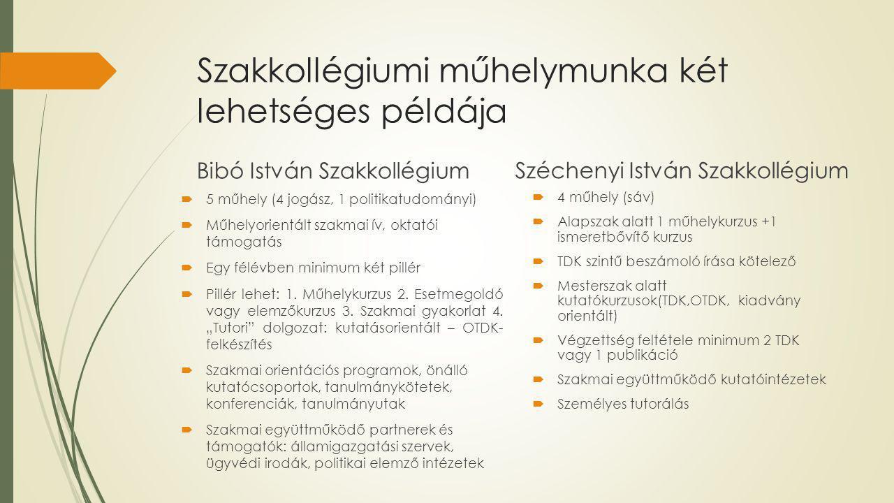 Szakkollégiumi műhelymunka két lehetséges példája Bibó István Szakkollégium  5 műhely (4 jogász, 1 politikatudományi)  Műhelyorientált szakmai ív, oktatói támogatás  Egy félévben minimum két pillér  Pillér lehet: 1.