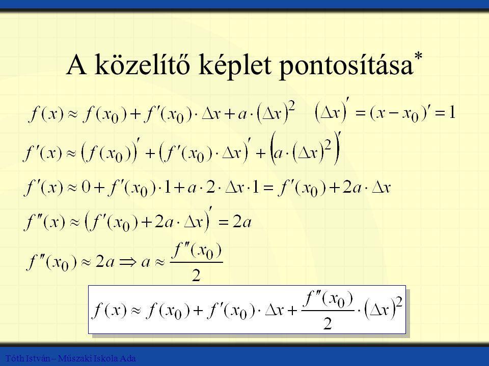 Tóth István – Műszaki Iskola Ada A közelítő képlet pontosítása *