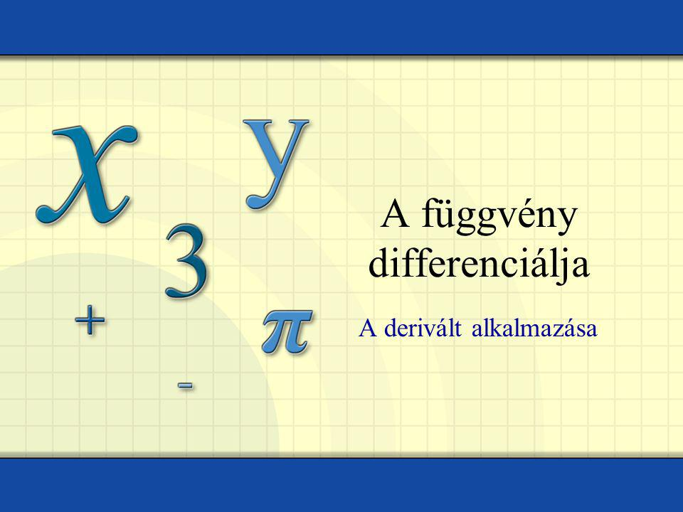 A függvény differenciálja A derivált alkalmazása