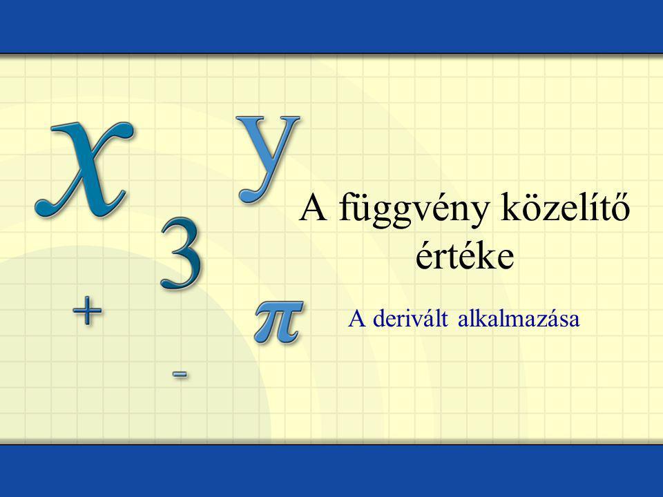 A függvény közelítő értéke A derivált alkalmazása