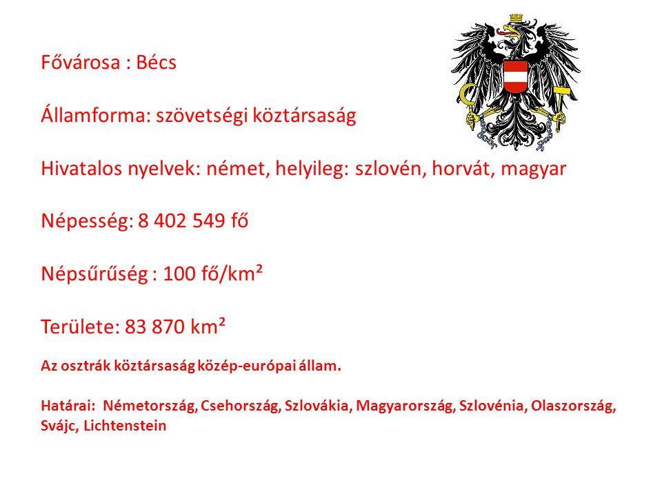 Fővárosa : Bécs Államforma: szövetségi köztársaság Hivatalos nyelvek: német, helyileg: szlovén, horvát, magyar Népesség: 8 402 549 fő Népsűrűség : 100