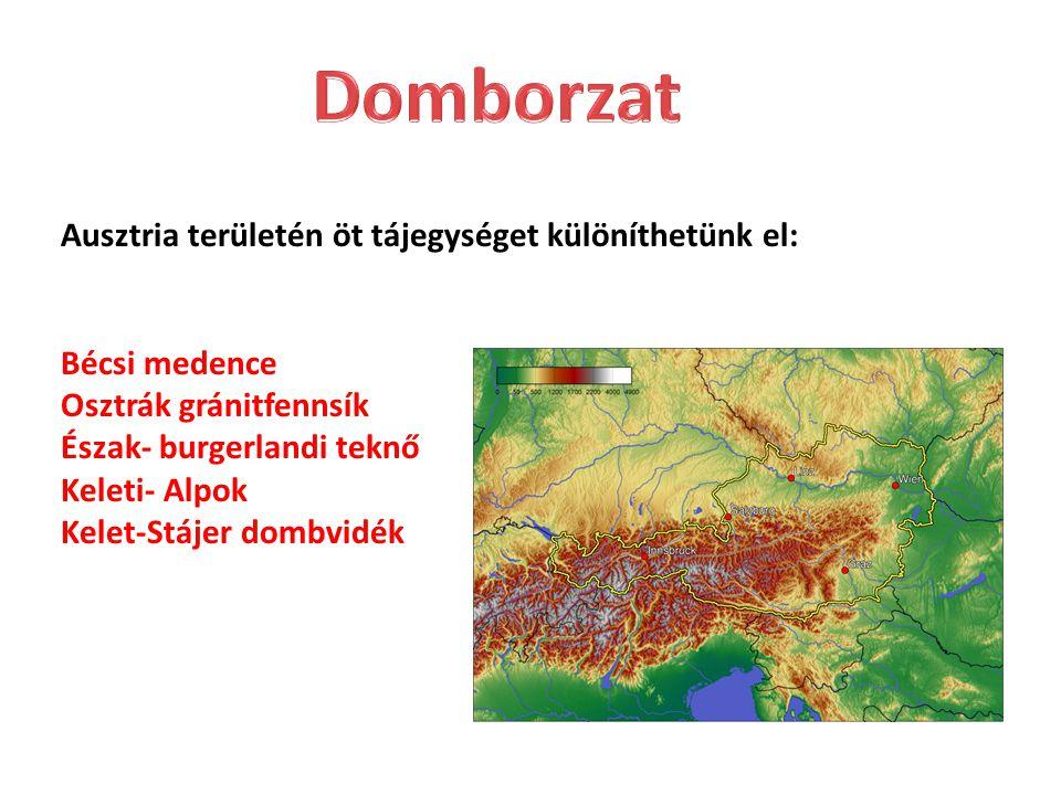 Ausztria területén öt tájegységet különíthetünk el: Bécsi medence Osztrák gránitfennsík Észak- burgerlandi teknő Keleti- Alpok Kelet-Stájer dombvidék