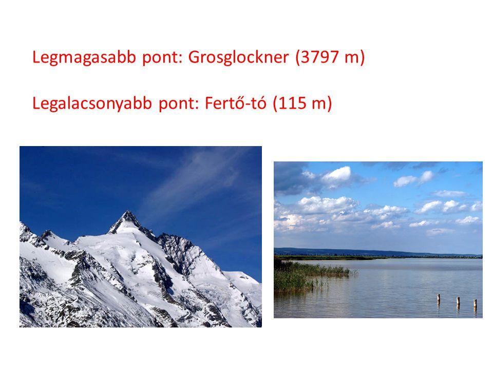 Legmagasabb pont: Grosglockner (3797 m) Legalacsonyabb pont: Fertő-tó (115 m)