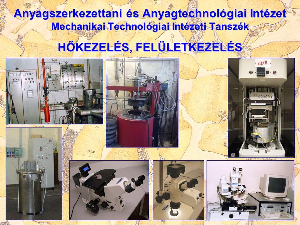 Anyagszerkezettani és Anyagtechnológiai Intézet Mechanikai Technológiai Intézeti Tanszék HŐKEZELÉS, FELÜLETKEZELÉS