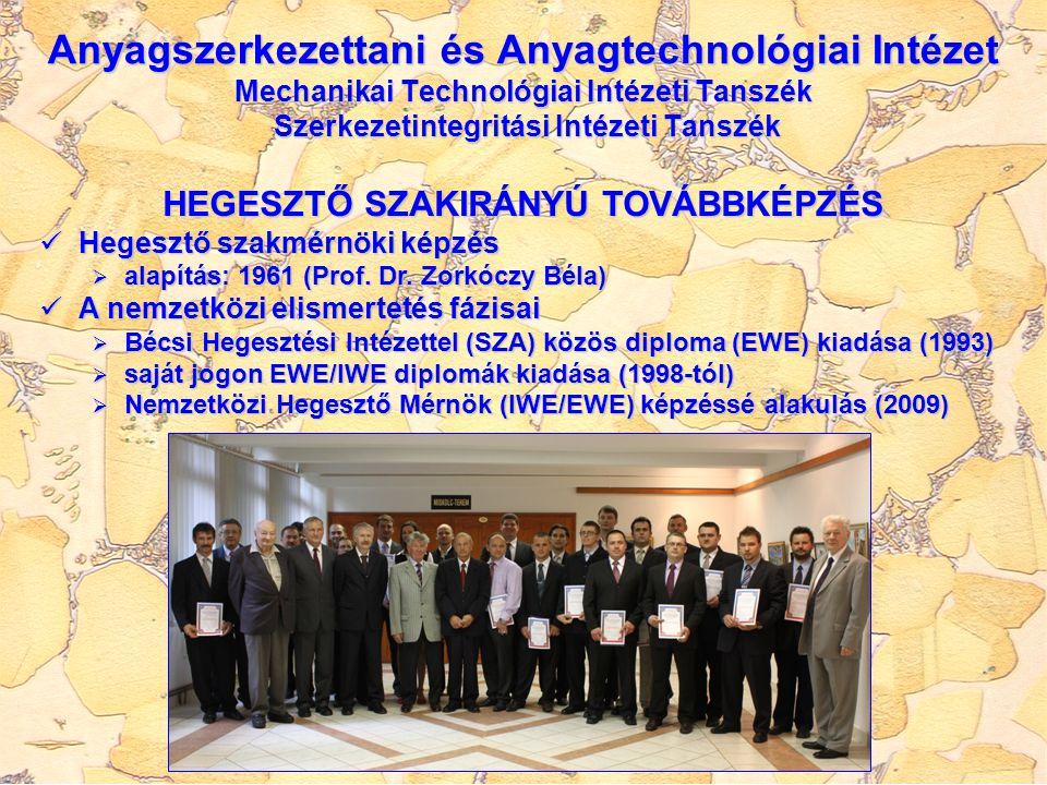 HEGESZTŐ SZAKIRÁNYÚ TOVÁBBKÉPZÉS Hegesztő szakmérnöki képzés Hegesztő szakmérnöki képzés  alapítás: 1961 (Prof. Dr. Zorkóczy Béla) A nemzetközi elism