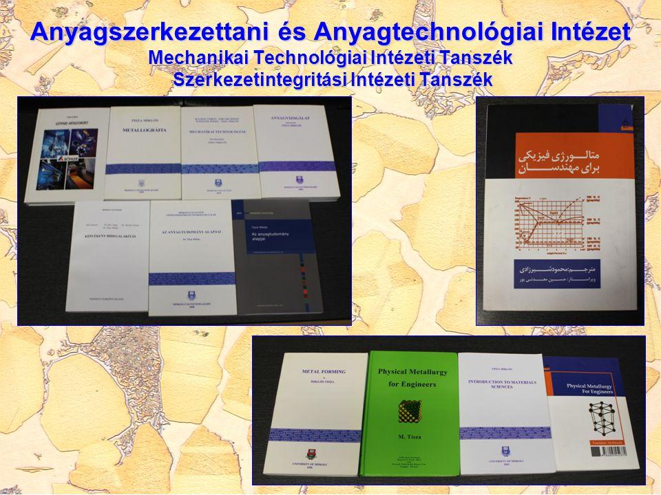 Anyagszerkezettani és Anyagtechnológiai Intézet Mechanikai Technológiai Intézeti Tanszék Szerkezetintegritási Intézeti Tanszék PUBLIKÁCIÓS TEVÉKENYSÉG éves szinten 90-100 publikáció éves szinten 90-100 publikáció egyre nagyobb hányadban idegen nyelven és rangos konferenciák kiadványaiban, illetve folyóiratokban egyre nagyobb hányadban idegen nyelven és rangos konferenciák kiadványaiban, illetve folyóiratokban kapcsolódó tevékenységek: hazai és nemzetközi szerkesztő bizottsági tagságok, lektorálások, konferencia szervezések kapcsolódó tevékenységek: hazai és nemzetközi szerkesztő bizottsági tagságok, lektorálások, konferencia szervezések