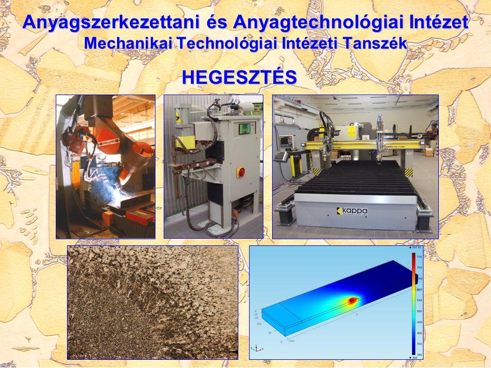 Anyagszerkezettani és Anyagtechnológiai Intézet Mechanikai Technológiai Intézeti Tanszék HEGESZTÉS