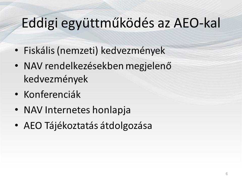 Eddigi együttműködés az AEO-kal Fiskális (nemzeti) kedvezmények NAV rendelkezésekben megjelenő kedvezmények Konferenciák NAV Internetes honlapja AEO Tájékoztatás átdolgozása 6