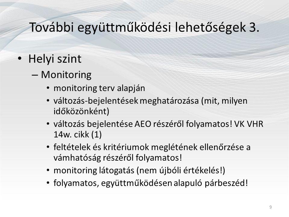 További együttműködési lehetőségek 3. Helyi szint – Monitoring monitoring terv alapján változás-bejelentések meghatározása (mit, milyen időközönként)