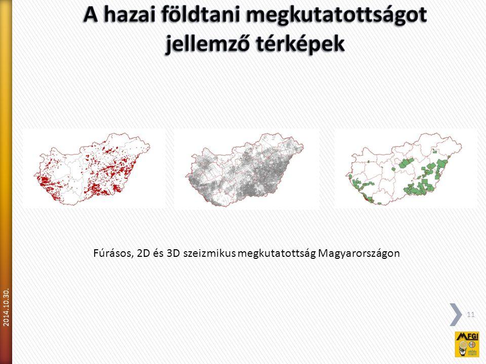 2014.10.30. 11 Fúrásos, 2D és 3D szeizmikus megkutatottság Magyarországon