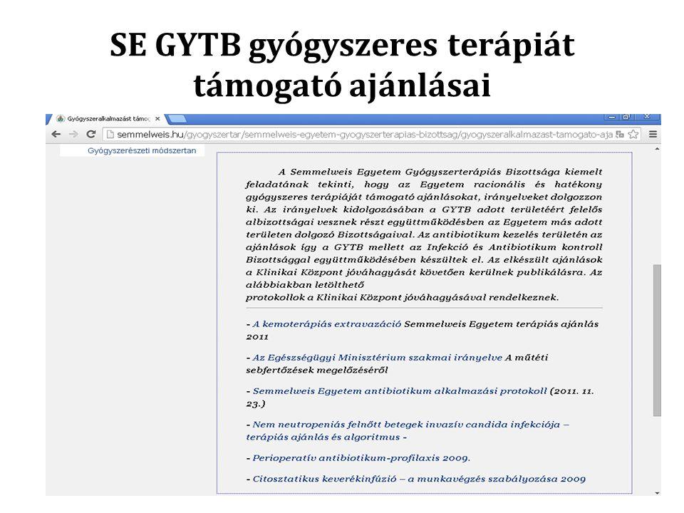 SE GYTB gyógyszeres terápiát támogató ajánlásai