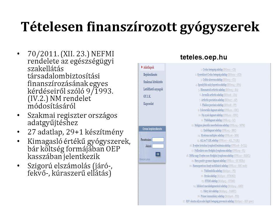 Tételesen finanszírozott gyógyszerek 70/2011. (XII. 23.) NEFMI rendelete az egészségügyi szakellátás társadalombiztosítási finanszírozásának egyes kér