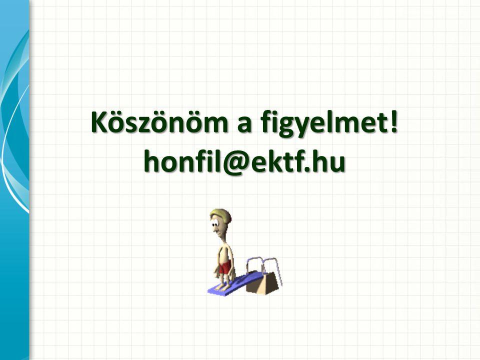 Köszönöm a figyelmet! honfil@ektf.hu