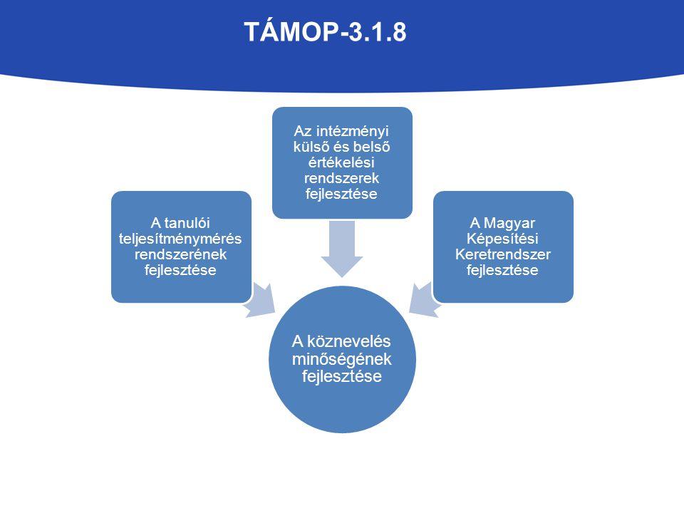 TÁMOP-3.1.8 A köznevelés minőségének fejlesztése A tanulói teljesítménymérés rendszerének fejlesztése Az intézményi külső és belső értékelési rendszer
