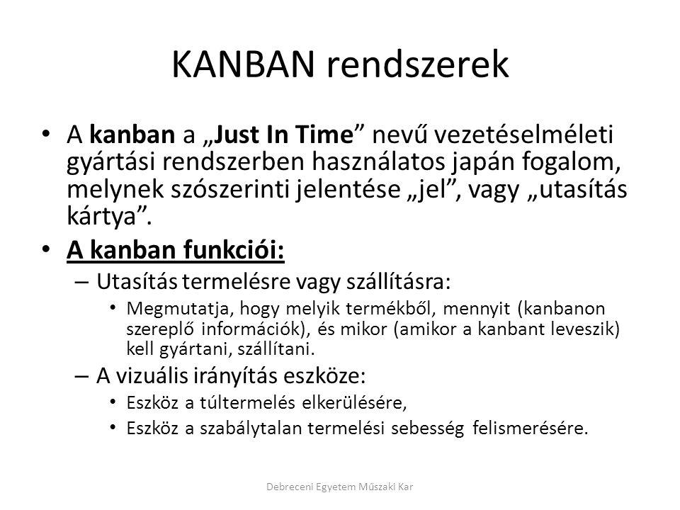 """KANBAN rendszerek A kanban a """"Just In Time"""" nevű vezetéselméleti gyártási rendszerben használatos japán fogalom, melynek szószerinti jelentése """"jel"""","""