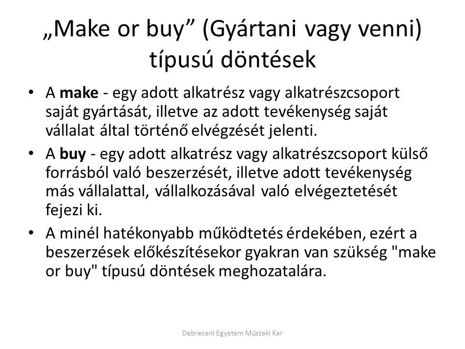 """""""Make or buy"""" (Gyártani vagy venni) típusú döntések A make - egy adott alkatrész vagy alkatrészcsoport saját gyártását, illetve az adott tevékenység s"""