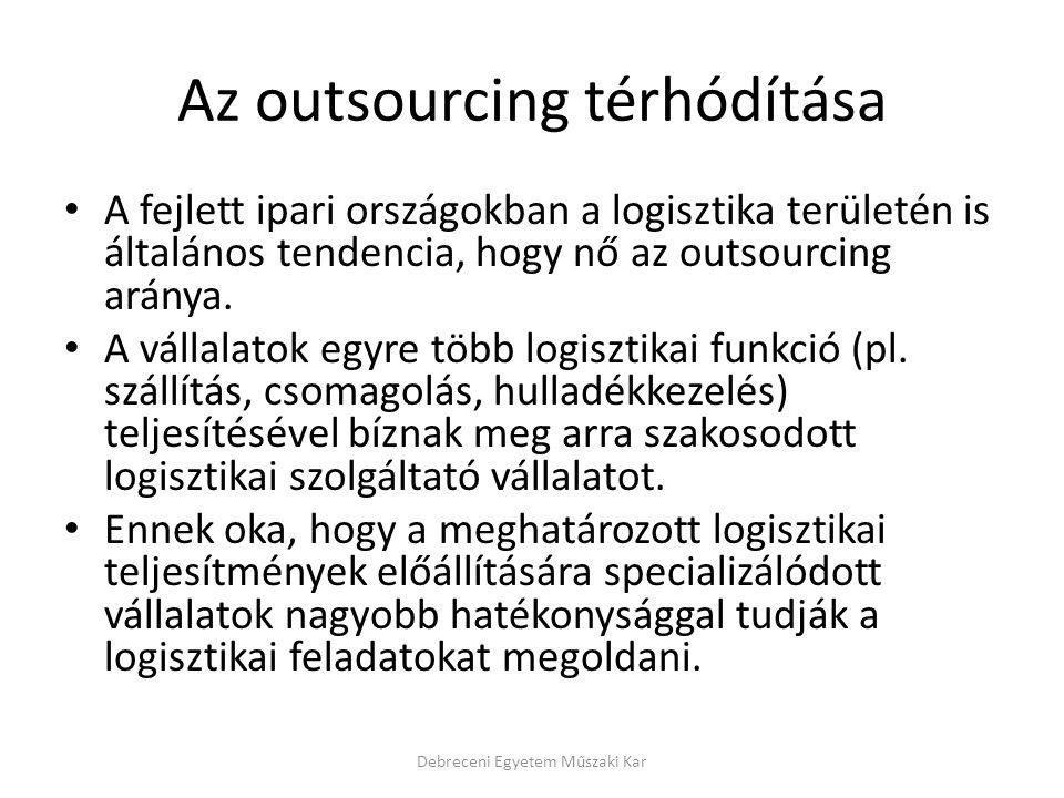 Az outsourcing térhódítása A fejlett ipari országokban a logisztika területén is általános tendencia, hogy nő az outsourcing aránya. A vállalatok egyr