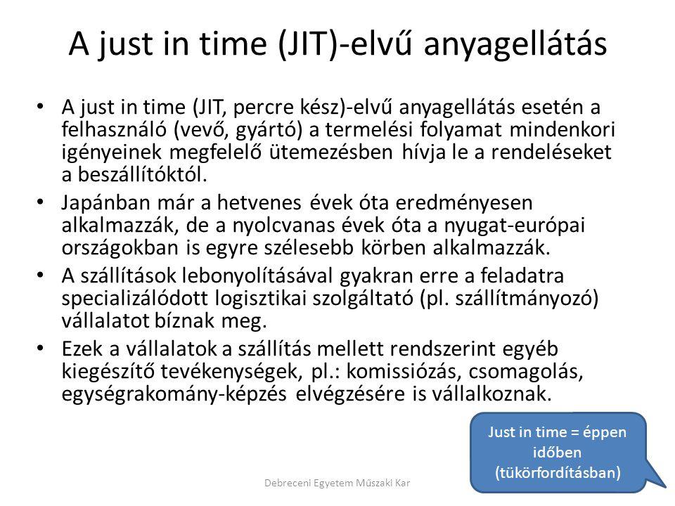 A just in time (JIT)-elvű anyagellátás A just in time (JIT, percre kész)-elvű anyagellátás esetén a felhasználó (vevő, gyártó) a termelési folyamat mi