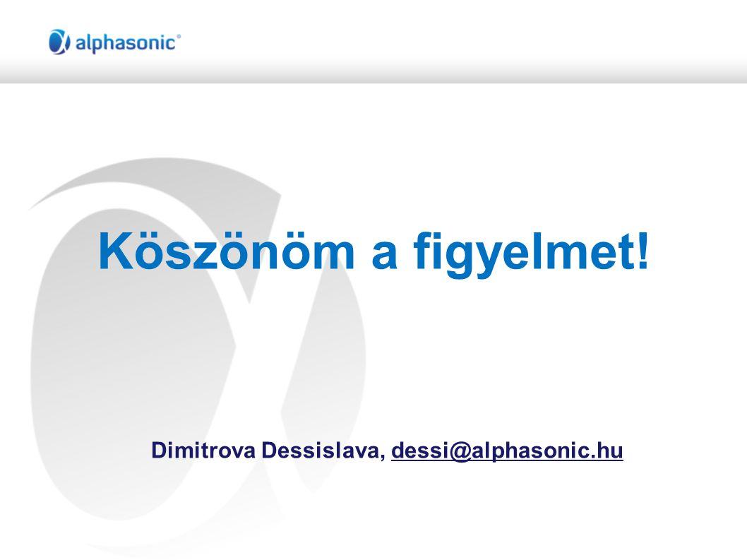 Köszönöm a figyelmet! Dimitrova Dessislava, dessi@alphasonic.hu