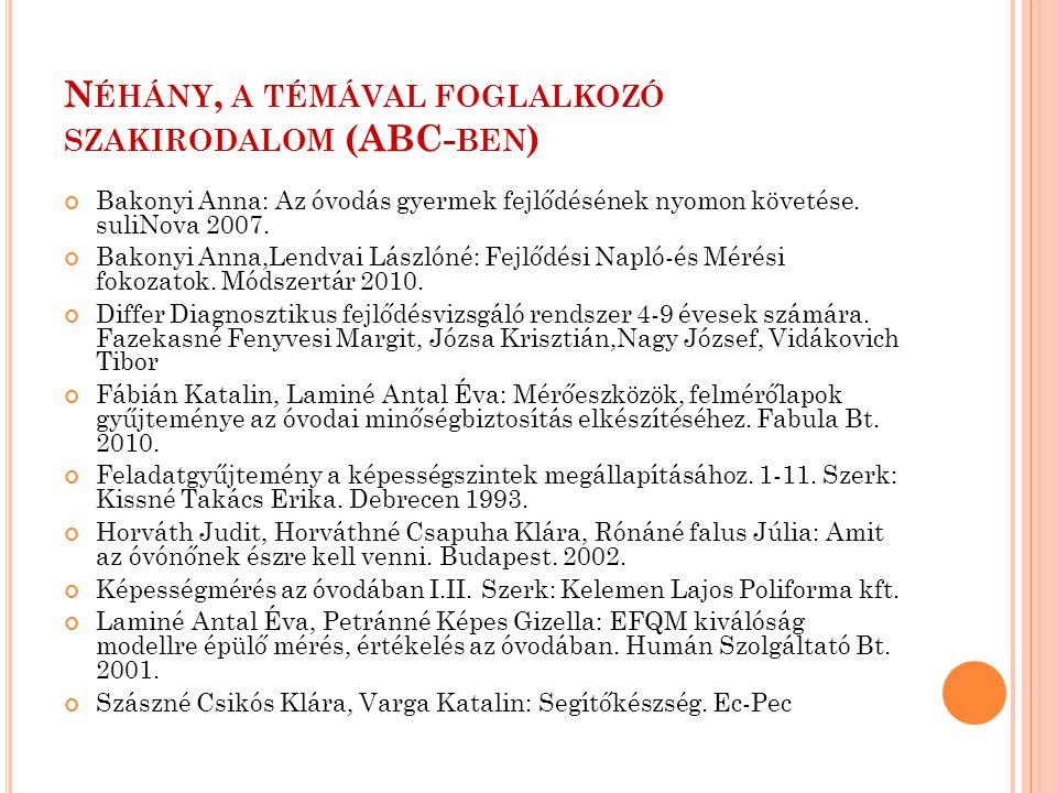 N ÉHÁNY, A TÉMÁVAL FOGLALKOZÓ SZAKIRODALOM (ABC- BEN ) Bakonyi Anna: Az óvodás gyermek fejlődésének nyomon követése. suliNova 2007. Bakonyi Anna,Lendv