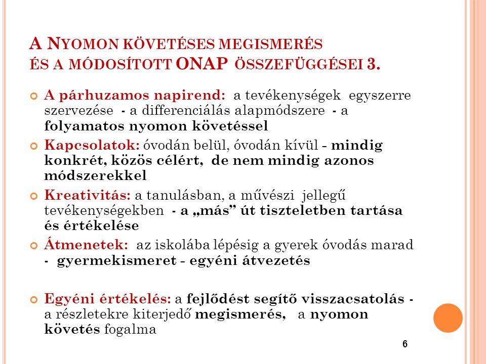 6 A N YOMON KÖVETÉSES MEGISMERÉS ÉS A MÓDOSÍTOTT ONAP ÖSSZEFÜGGÉSEI 3. A párhuzamos napirend: a tevékenységek egyszerre szervezése - a differenciálás